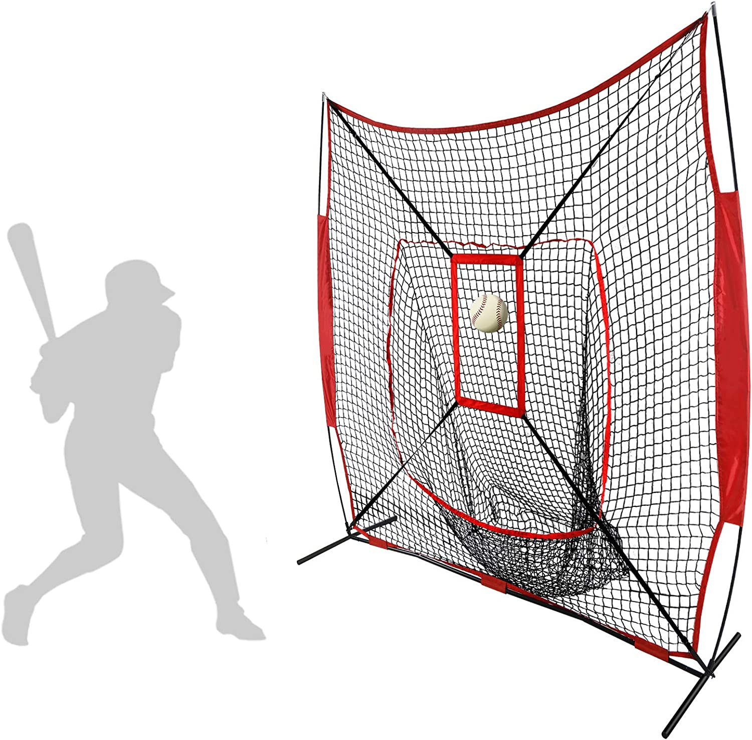 Smartxchoices 7×7 Heavy Duty Baseball Softball Practice Net with Mouth, Bow Frame and Bonus Strike Zone for Pitching Hitting and Catching, Portable Batting Soft Toss Backstop Training Equipment Aids