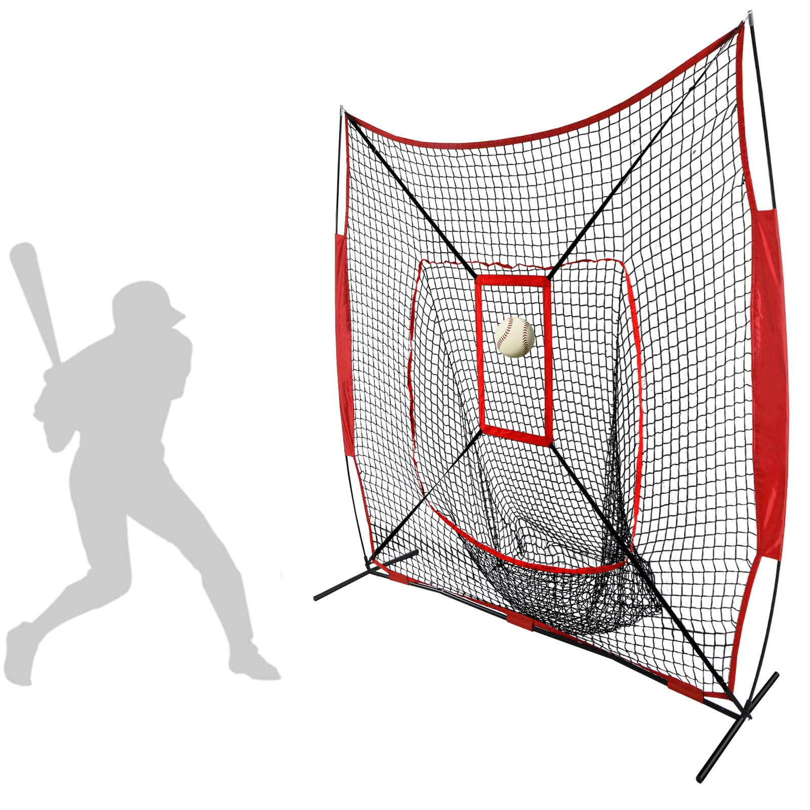 JupiterForce Convenient 7'x 7' Baseball & Softball Practice Training Nets with Target Frame by JupiterForce