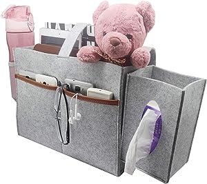 Larjasam Bedside Organizer, Felt Storage Bag Attach Removeable Tissue Box and Mesh Bottle Holder, Bed Caddy Magazine Books Holder Suitable for Home College Hospital Loft Bed Sofa Desk- Light Grey