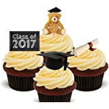 Class Of 2016 Graduation Edible Cupcake Toppers – stand-up Wafer Cake Decorations by Made4You