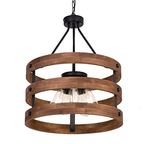 Deralan Modern Rustic Chandelier Circular Wood Chandeliers Round Wooden Five Lights Farmhouse Chandeliers Island Pendant Lighting Fixture Industrial