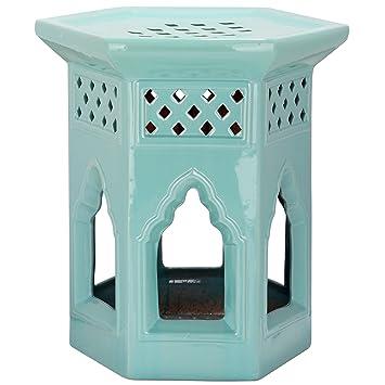 Groovy Safavieh Castle Gardens Collection Moroccan Garden Light Aqua Ceramic Garden Stool Machost Co Dining Chair Design Ideas Machostcouk