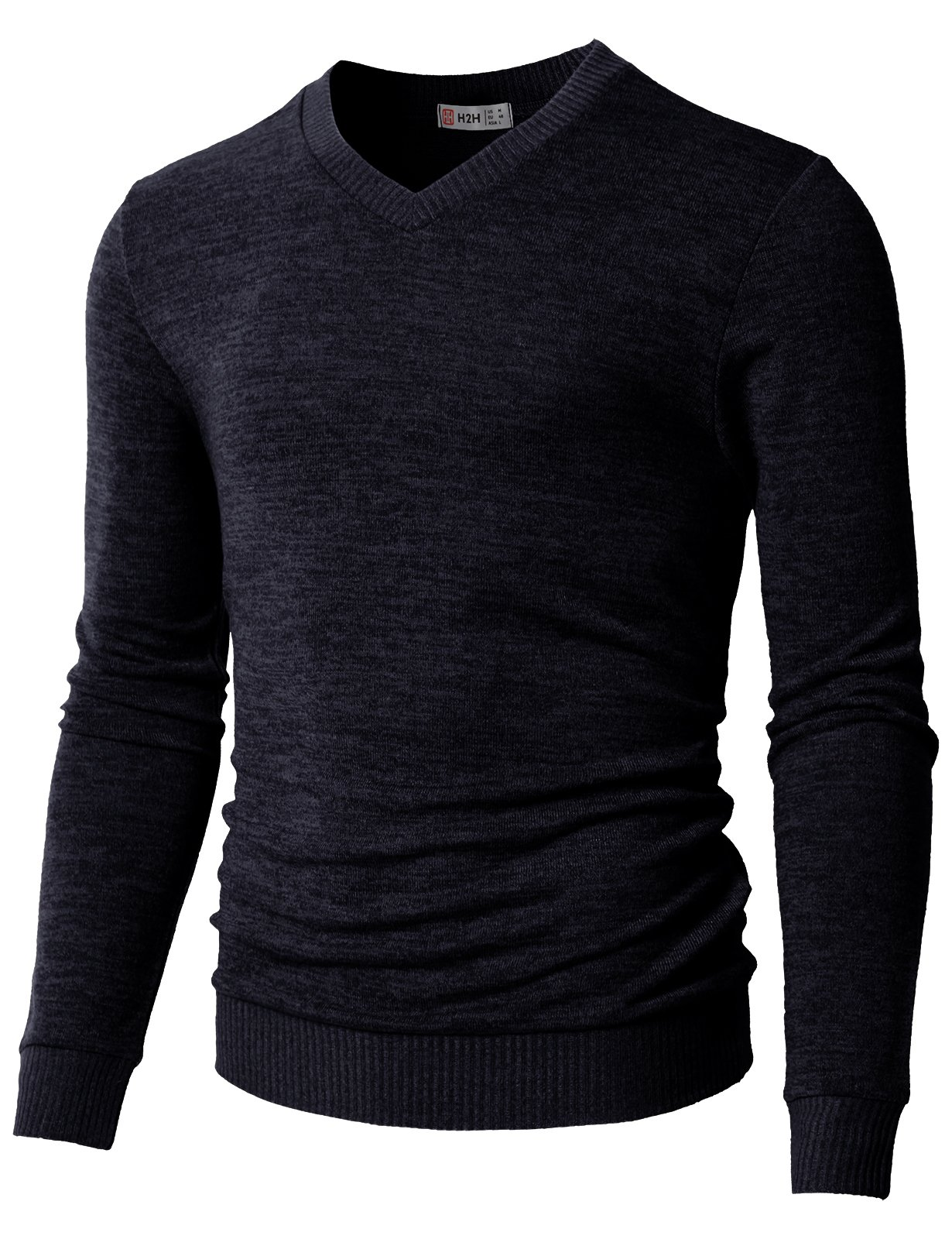 H2H Mens Slim Fit Button Casual Henley Neck Sweater Long Sleeve Pullover Navy US M/Asia L (CMOSWL018)