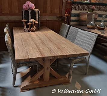 Teak Gartentisch Bronn 220x100 Teakholz Antik Massiv Tisch Tafel
