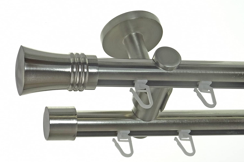 Innenlauf Gardinenstange Edelstahl Look 20mm Deckenbefestigung, 2-läufig Knauf, Länge wählbar D40 E86E30, Länge 240 cm