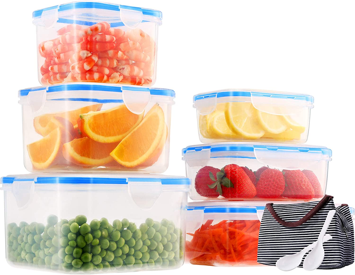 Food Storage Containers Set with Lids, 6 Pack Airtight Plastic Containers for Food Storage BPA Free Leakproof Meal Prep Containers with Lunch Bag and Spoons, Microwave, Freezer, Dishwasher Safe