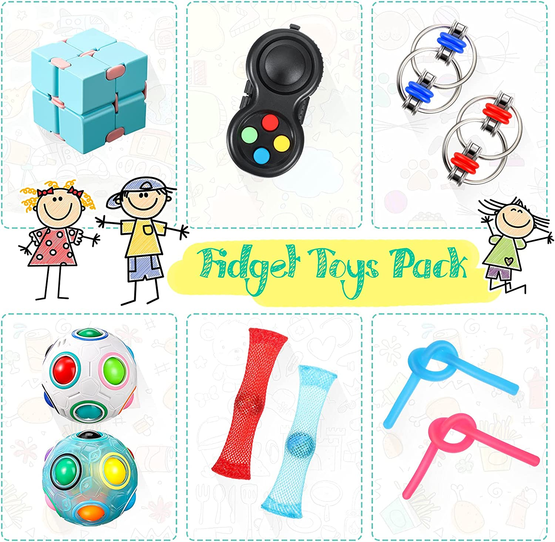 2 Key Flippy Chain 1 Fidget Controller Pad 1 Infinity Cube 10 Pieces Mini Handheld Fidget Toy Set Includes 2 Magic Rainbow Ball 2 Elastic String and 2 Fidget Mesh Marble Stress Relief Fidget Toy