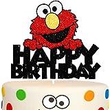 Elmo Happy Birthday Cake Topper Red Glitter Happy Birthday Theme Decor for Baby Shower Birthday Party Cartoon…