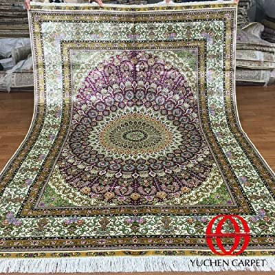 Persian Silk Rug 5x7 Pink Hand Knotted Oriental Area Rugs For Living Room Yuchen Carpets