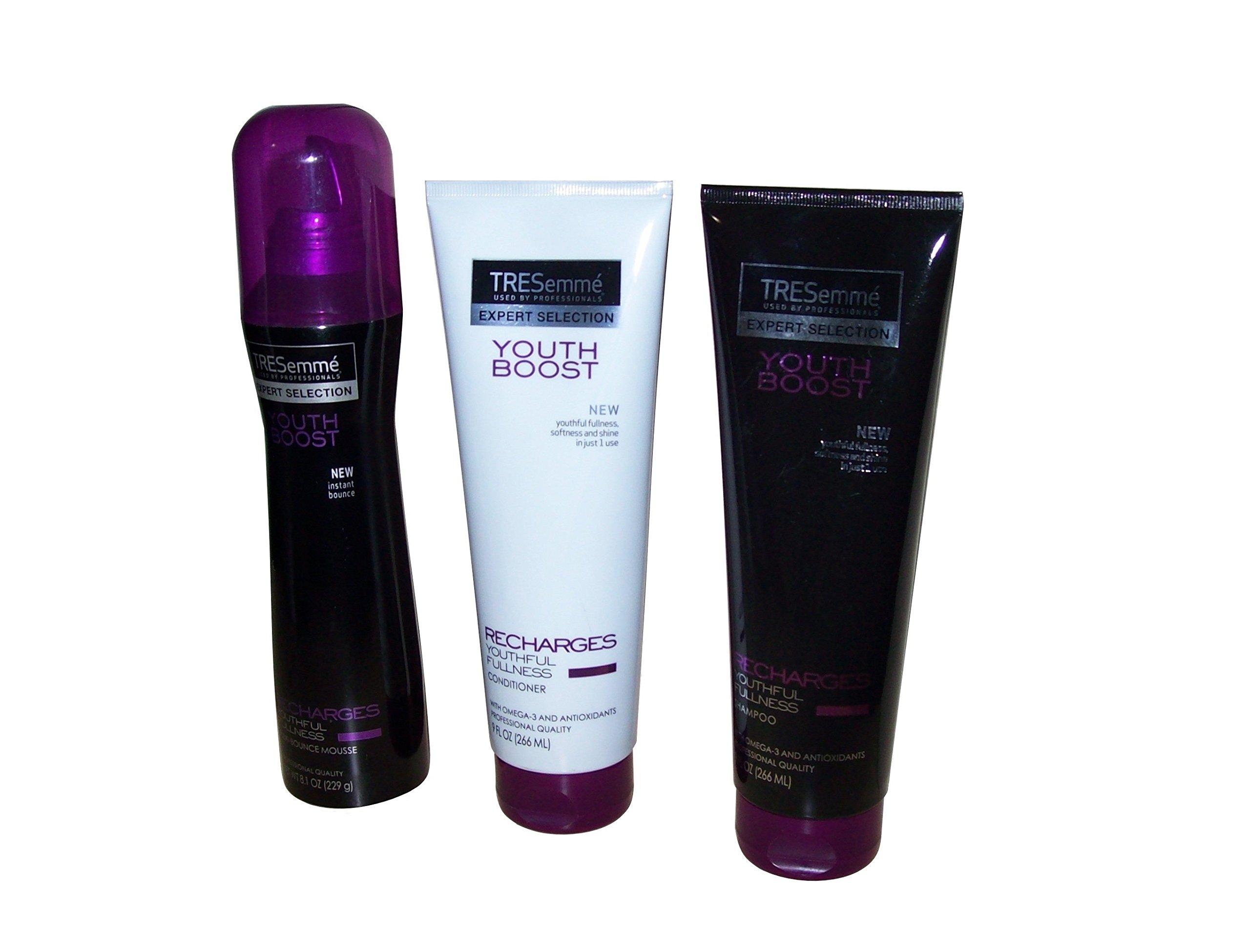 (3 Piece Bundle) TRESemme' Youth Boost (9 Fl Oz) Shampoo, (9 Fl Oz) Conditioner & (8.1 Oz) Flexi-Bounce Mousse by TRESemme