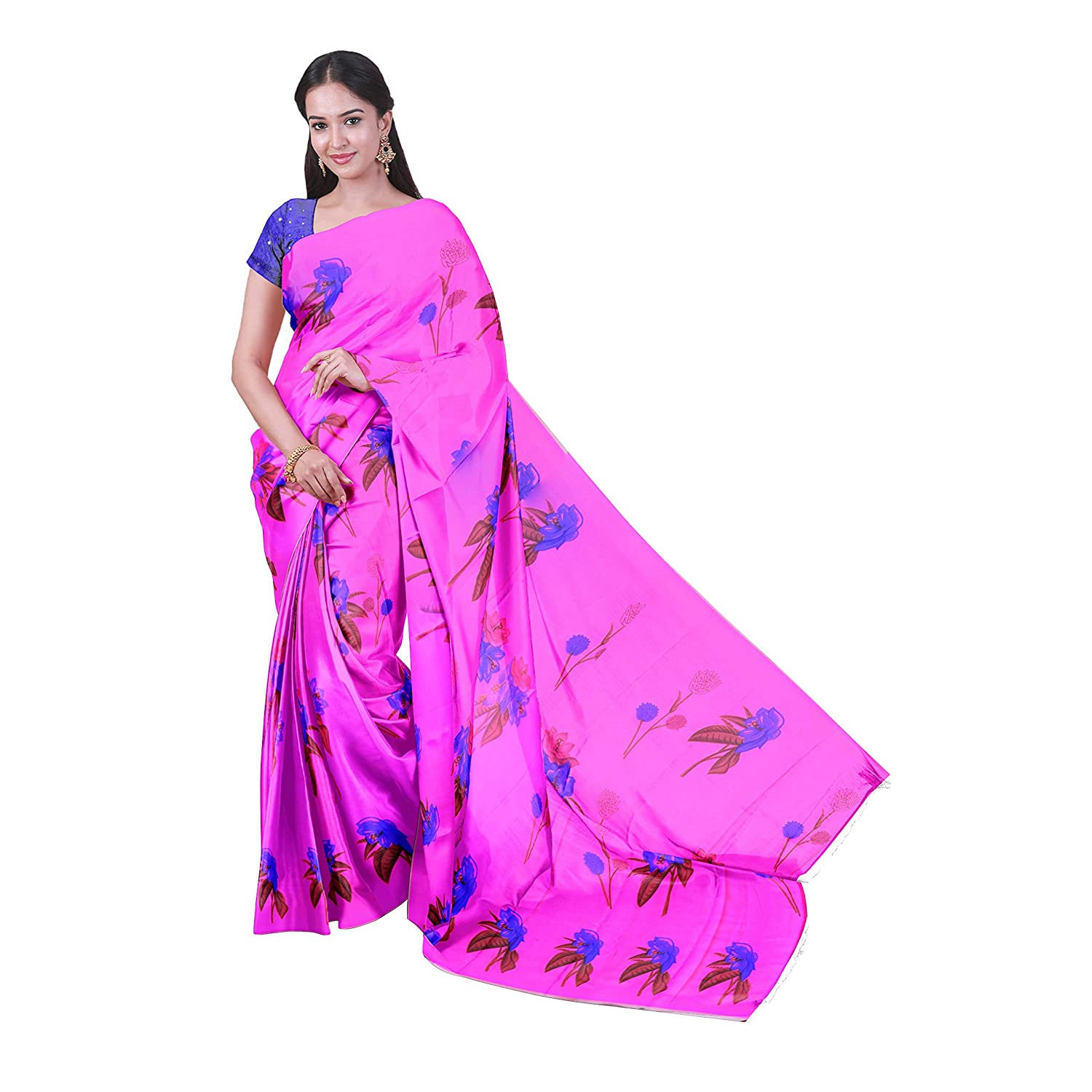 d50858c8990 KLM Fashion Mall Women s SYNTHETICS SAREE (PINK   BLUE)  Amazon.in  Clothing    Accessories