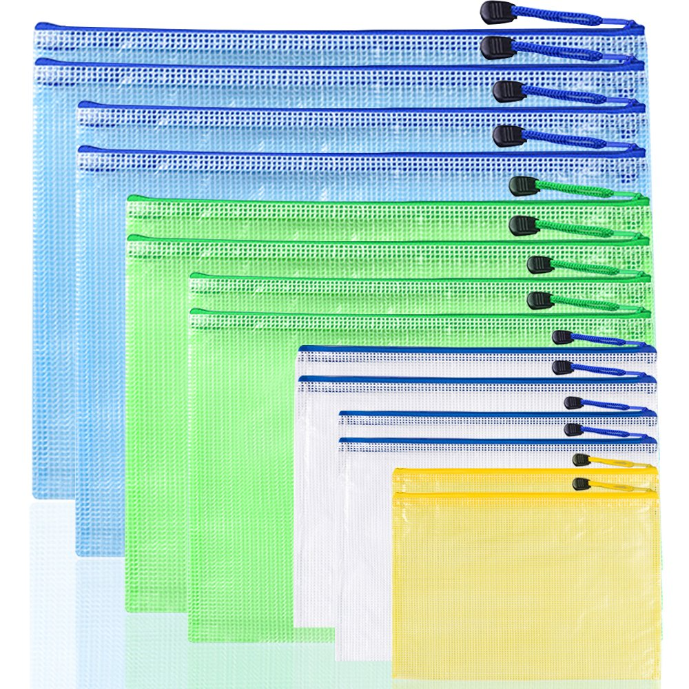 14 pcs Plastic Zip File Folders, AFUNTA 7 Sizes Waterproof Paper Document Zipper Mesh Bags PVC Storage Pouches - Yellow, White, Green, Blue