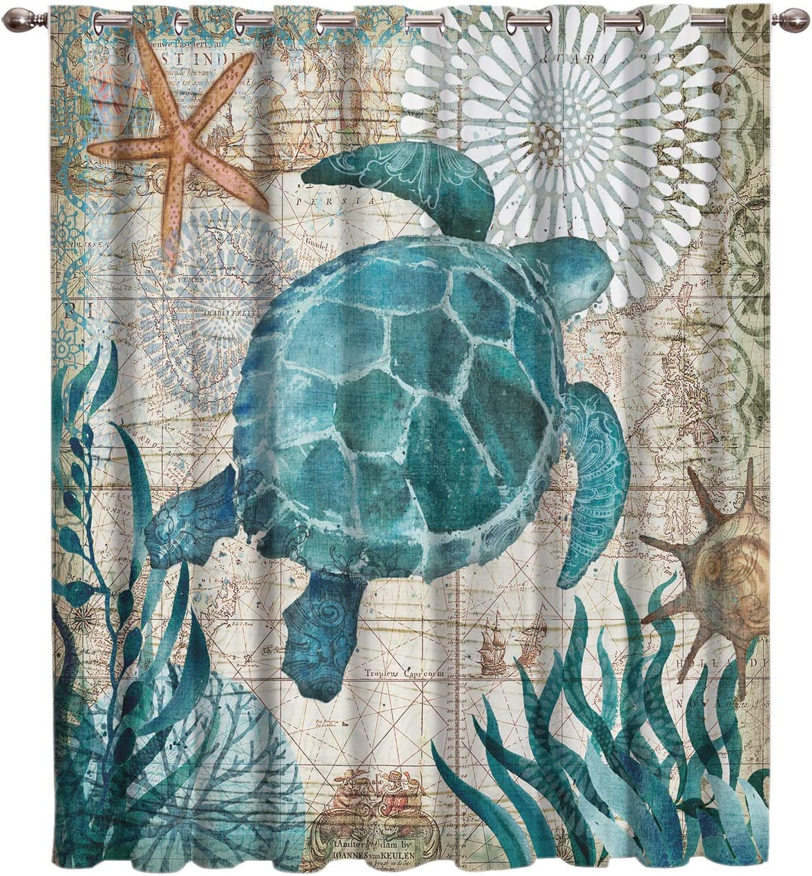 Fahome Watercolor Ocean Animals Sea Turtle Wildlife Theme Durable Window Treatments Curtains 52 W x 96 L, Kitchen Drapes Gromment Blackout Curtain Darkening for Bedroom Living Room Cafe