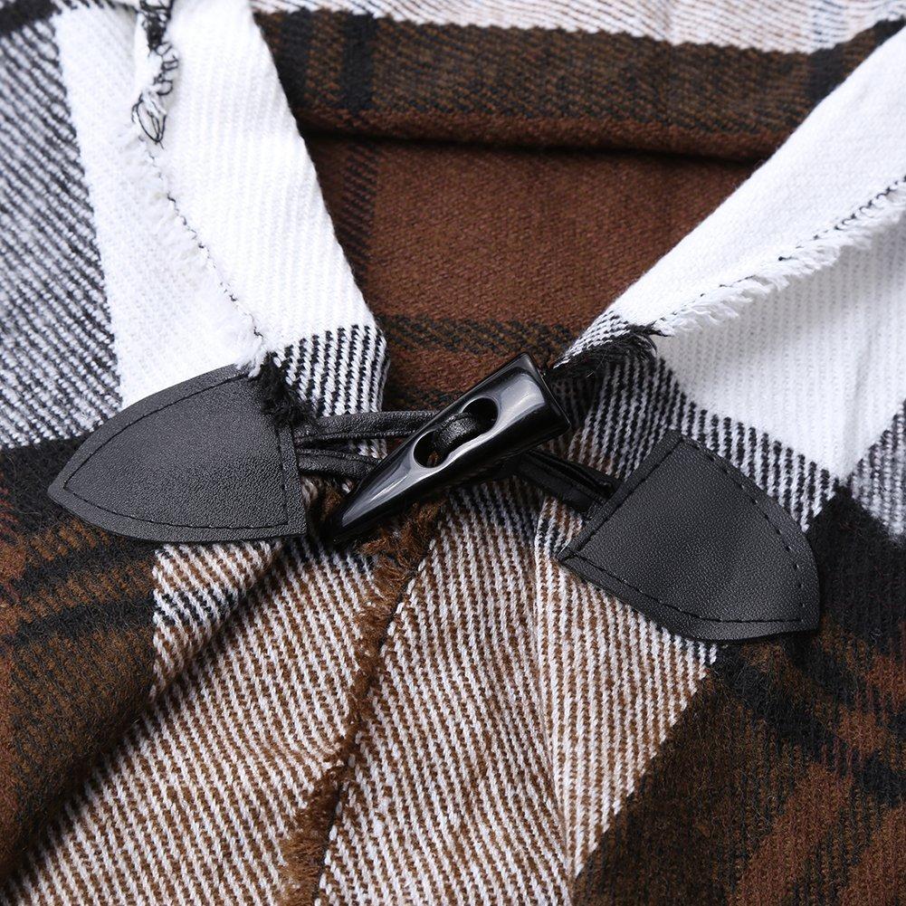 Women Plaid Hooded Poncho Bobo Shawl Fringe Tartan Wrap Tasseled Batwing Cape by Landove (Image #5)