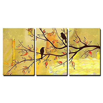 Wall26 3 Piece Canvas Wall Art Two Birds On Tree Branches On Vintage Yellow Background Modern Home Decor Stretched And Framed Ready To Hang