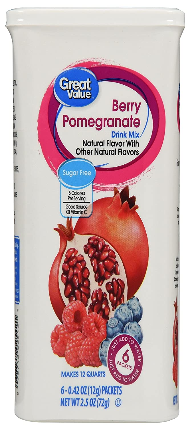Great Value Berry Pomegranate Drink Mix, 6 Count per pack, 2.5 Oz (Pack of 2)