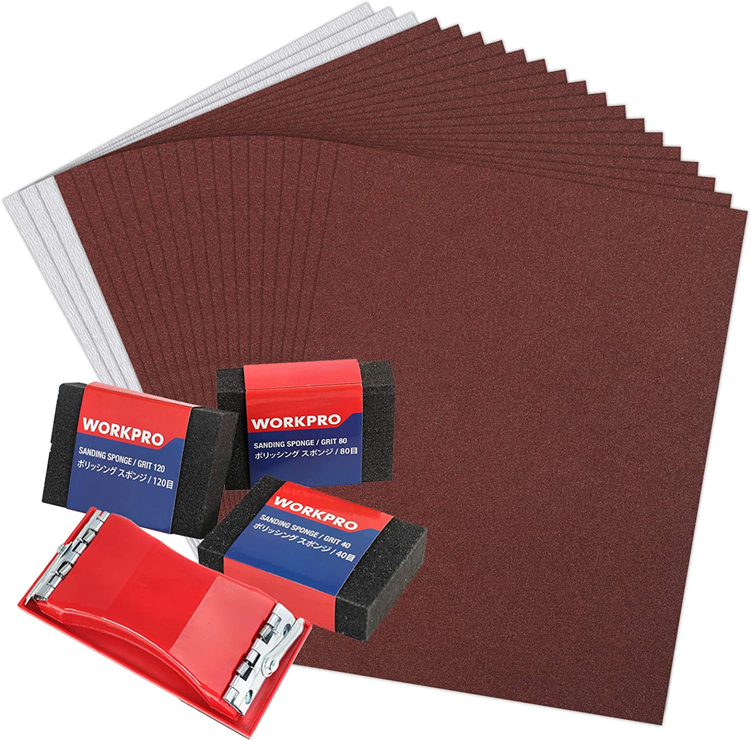 WORKPRO 24 Piece Sandpaper 80-600 Assorted Grit with Holder, Sand Sponges 40/80/120 Grit, Alumina Sand Paper for Wood Furniture Finishing, Metal Sanding, Paint Finishing