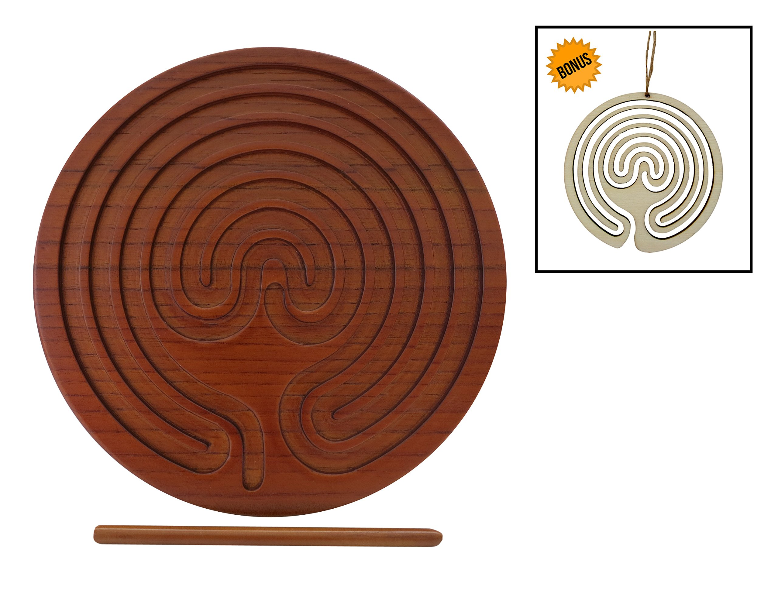 LabyrinthLady Finger Labyrinth for Meditation & Mindfulness, for Anxiety & Stress Relief,for Kids to Seniors to Find Calm, 8-1/2'' dia,Bamboo Wood,Eco-Friendly,Antimicrobial,Bonus Ornament