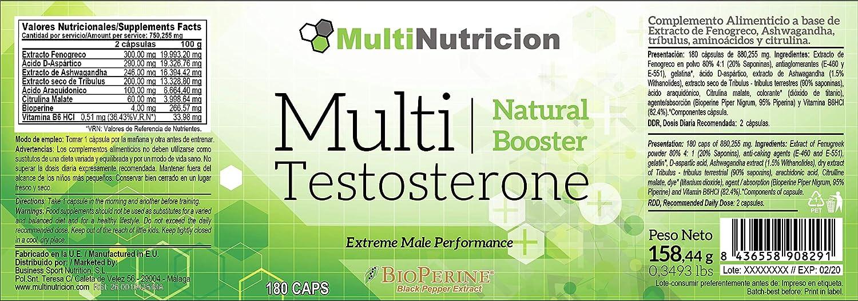 Multi Testosterone | Testosterona Natural | Tratamiento para tres meses |180 Capsulas | Bioperine® Fenogreco Tribulus D-aspartico Ashwagandha Citrulina|: ...