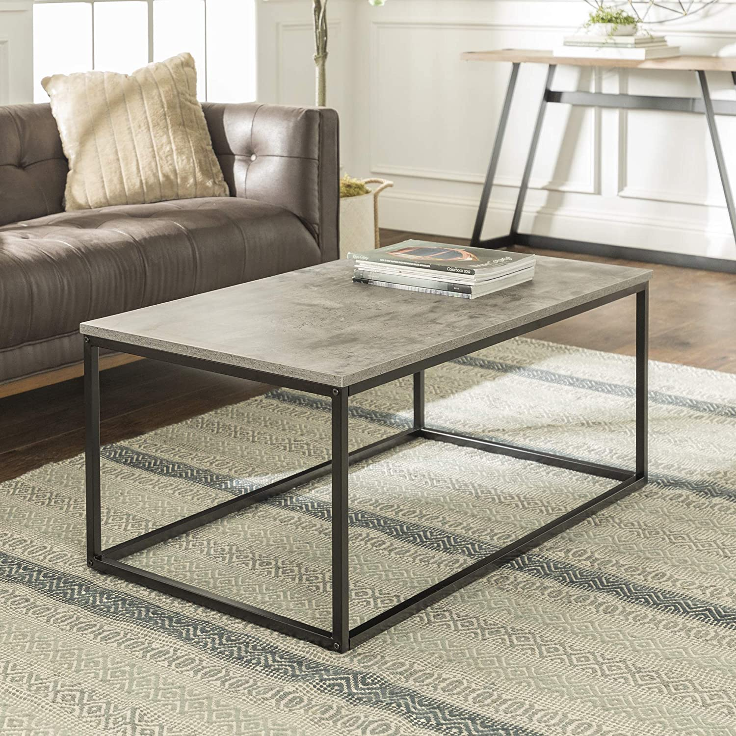 Walker Edison Modern Metal Frame Open Rectangle Coffee Accent Living Room Ottoman End Table, 42 Inch, Dark Concrete