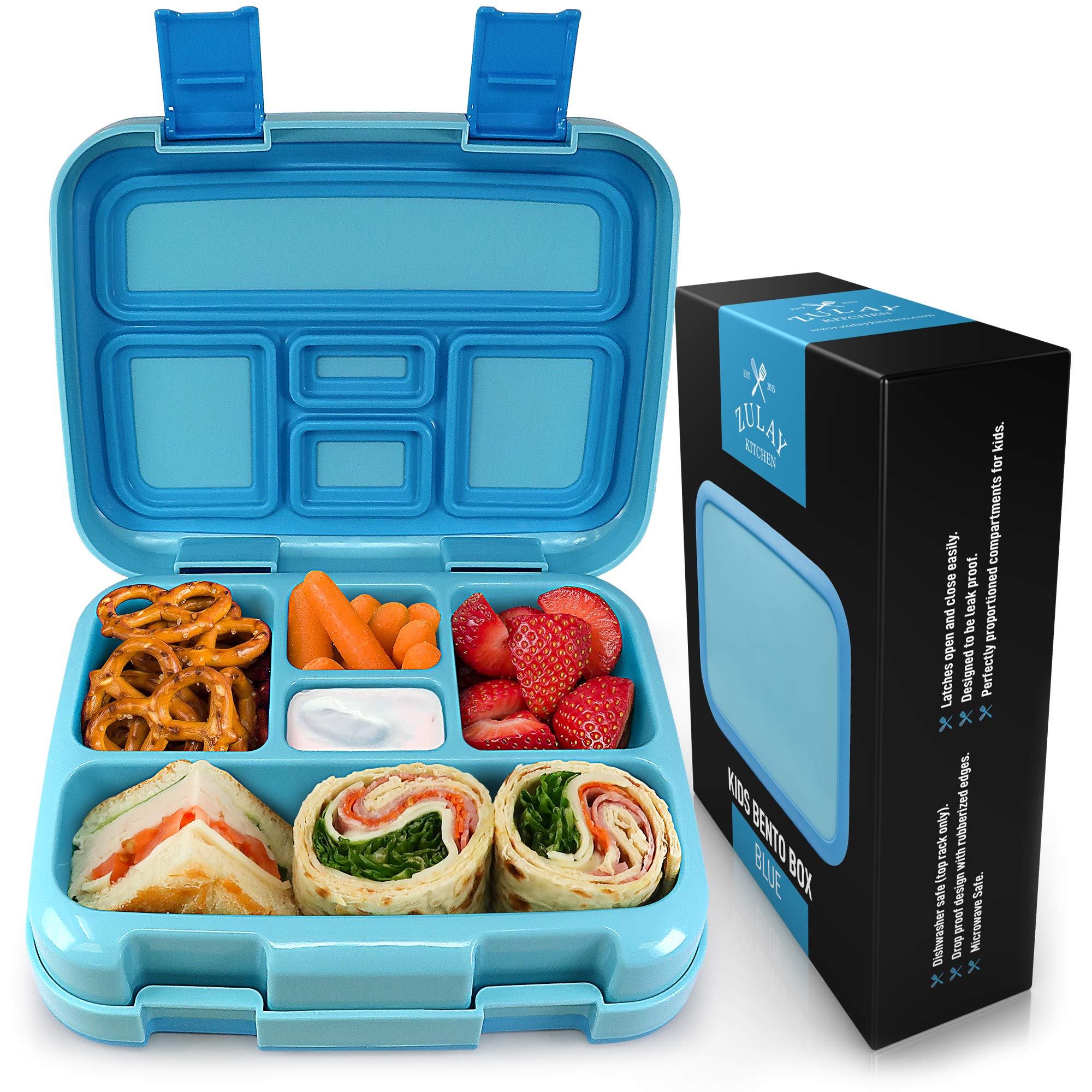 Zulay Kids Bento Box Lunch Box - Durable, Leak-Proof with Toddler-Friendly Latches for Easy Access & 5 Perfectly Proportioned Kid-Sized Compartments - BPA-Free Bento Box Containers with Removable Tray by Zulay Kitchen