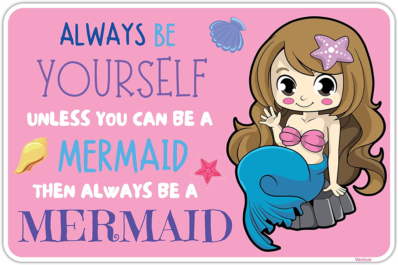 Venicor Mermaid Sign - 8 x 12 Inches - Aluminum - Mermaid Room Decor For Girls Bedroom - Mermaid Nursery Hanging Wall Decorations - Little Kids Girl Pink Bathroom Mermaids Gifts Poster Decal Stuff