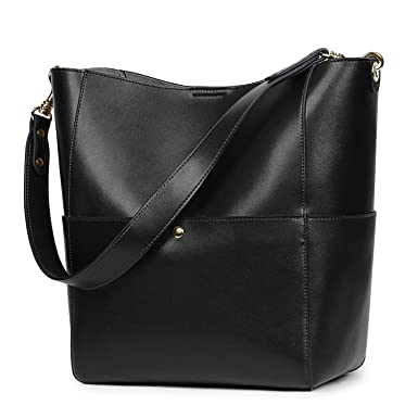 656f887eff Image Unavailable. Image not available for. Color  S-ZONE Women s Vintage Genuine  Leather Bucket Tote Shoulder Bag Hobo ...
