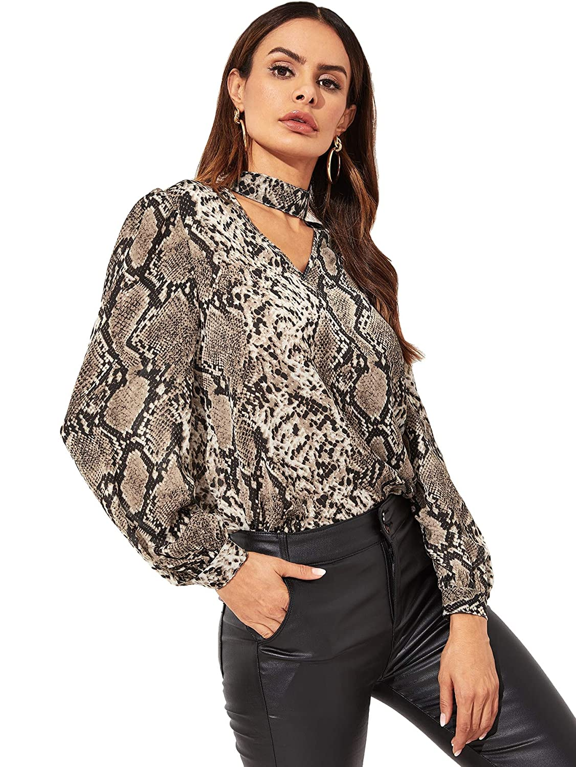 ff491e55cec Romwe Women's Long Sleeve Choker V Neck Snake Skin Printed Casual Solid Blouse  Top at Amazon Women's Clothing store: