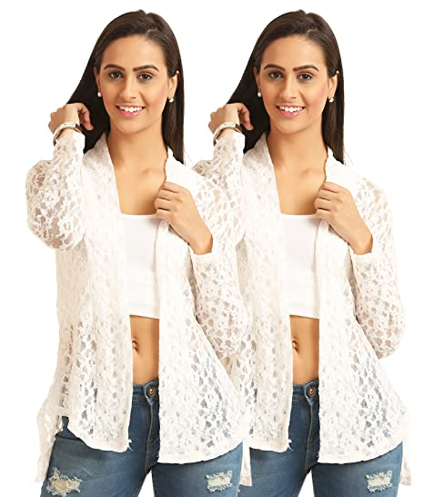 Skidlers Women's Shrug (Pack of 2) (DESIGN 10 WHITE NET COMBO_White_Free  Size)