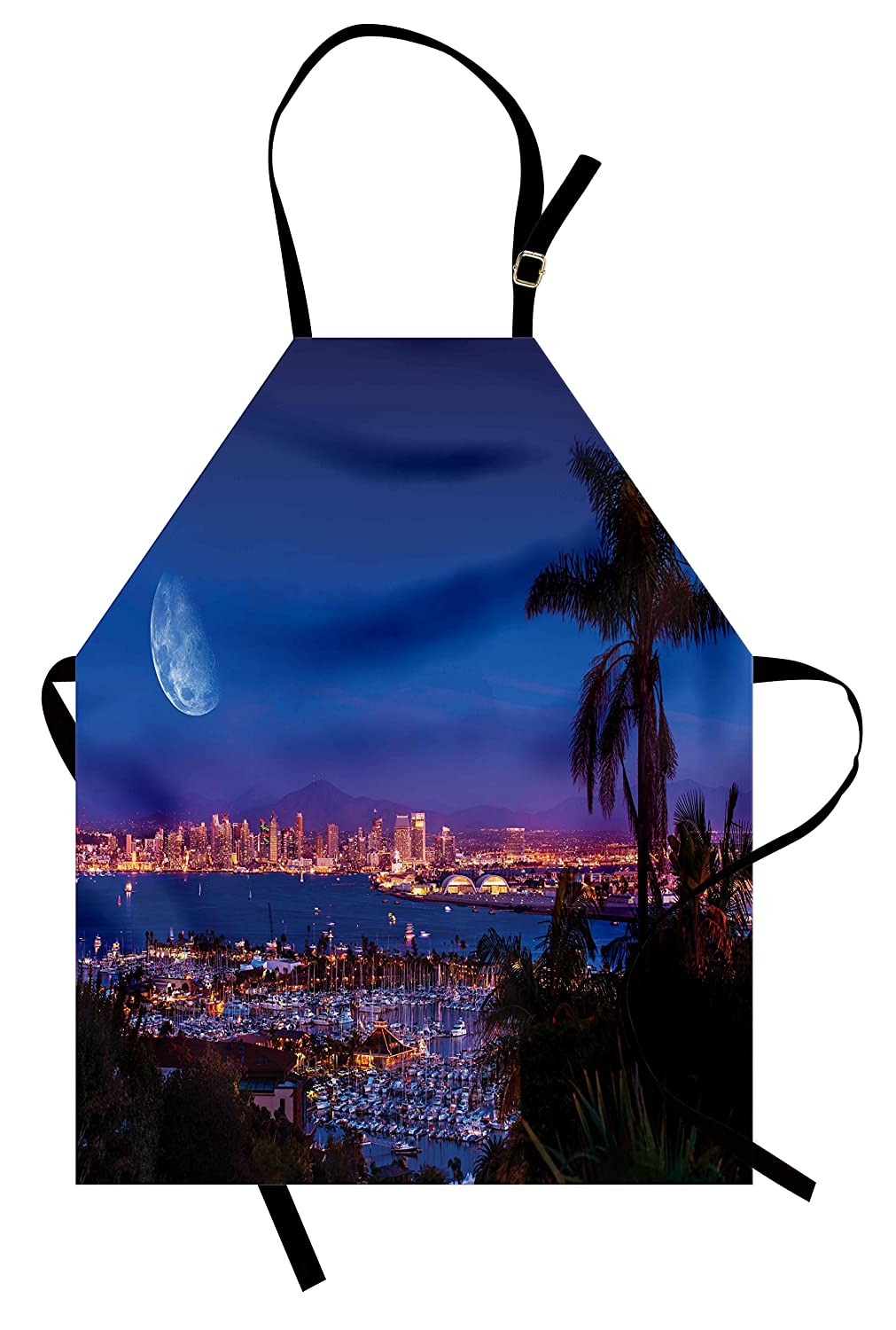 Lunarable USA Apron, San Diego California Night with Large Moon on The Horizon Yachts Panorama, Unisex Kitchen Bib Apron with Adjustable Neck for Cooking Baking Gardening, Navy Blue Pink Brown