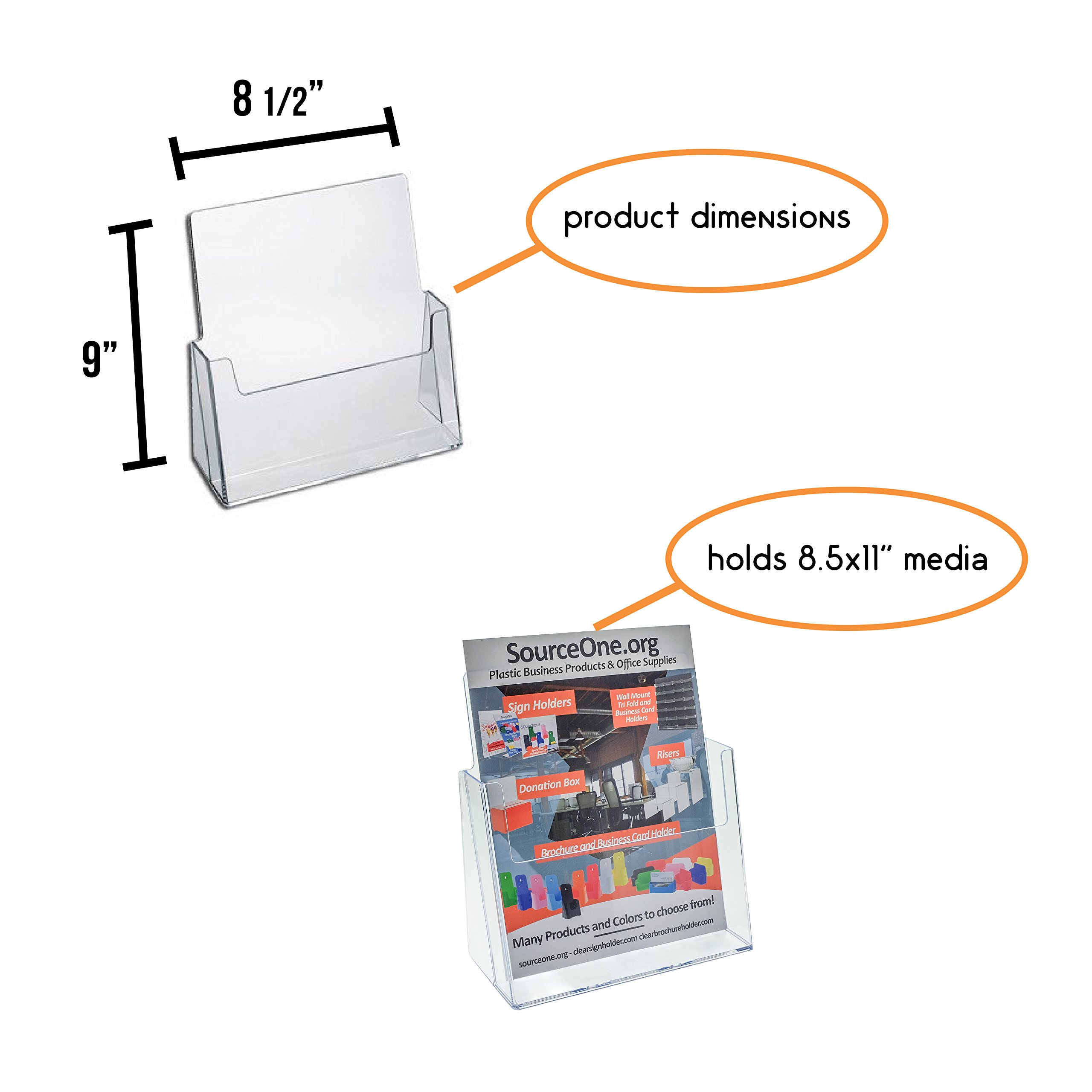 Source One Premium Counter Top Full Size, 8.5 x 11 Inches Wide Acrylic Brochure Holder (S1-CT-FS) (2 Pack)
