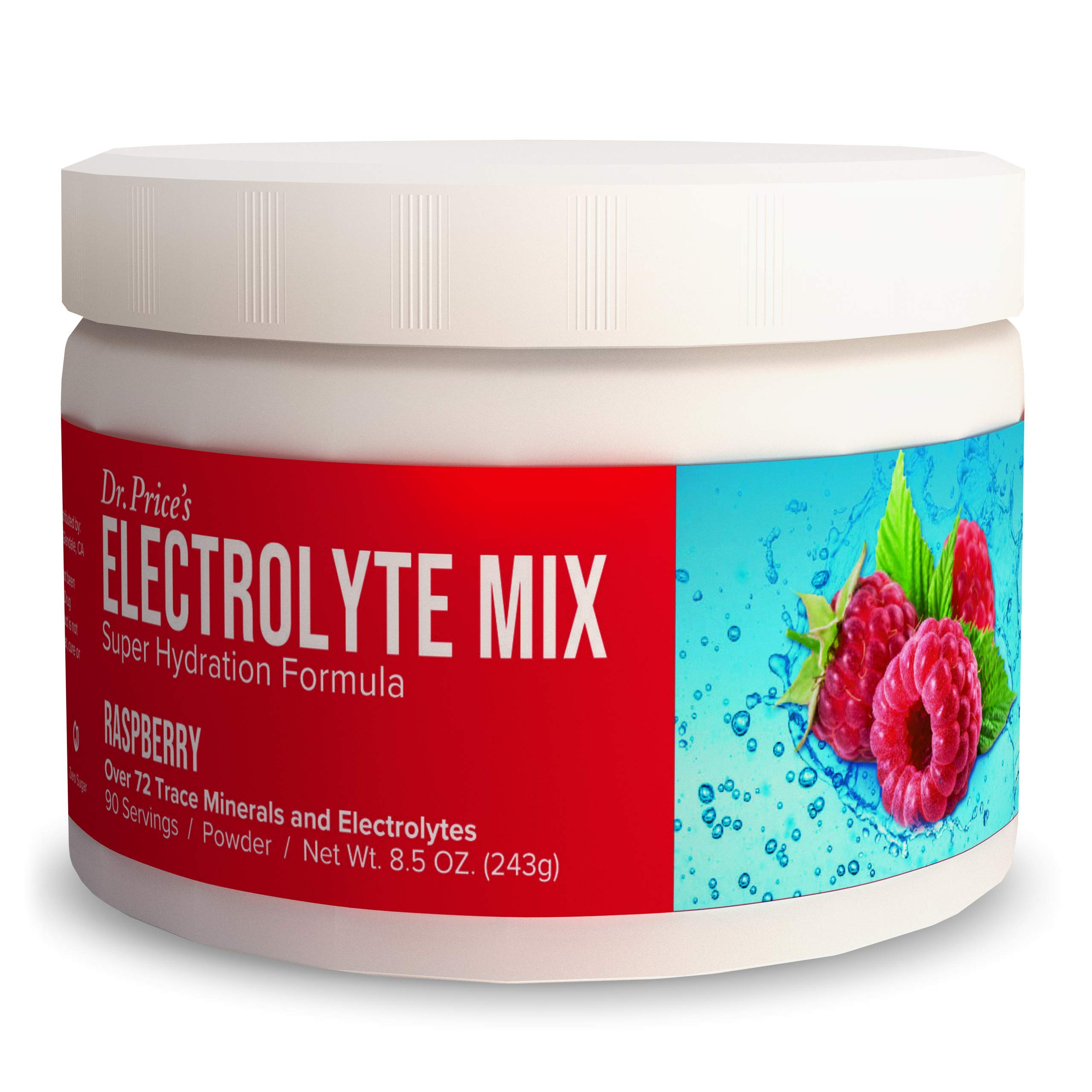 Electrolyte Mix Supplement Powder, 90 Servings, 72 Trace Minerals, Potassium, Sodium, Electrolyte Replacement Keto Drink | Raspberry Flavor | Dr. Price's Vitamins, No Sugar, Vegan, Non-GMO by Dr. Price's Vitamins