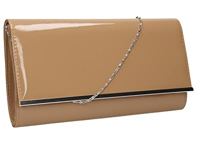 Heidi Patent Leather Flapover Women s Party Prom Clutch Bag in Nude ... 9469ed32a