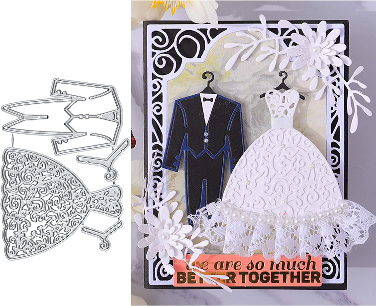 DIY Cutting Dies Stencil DIY Scrapbooking Embossing Paper Card Decor Bride Groom Wedding Shape Mould for Scrapbooking Album Cards Making