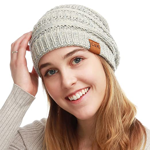 c7093874 The Hat Depot Winter Two Tone Chunky Cable Soft Beanie Knit Skull Hat  (Beige/