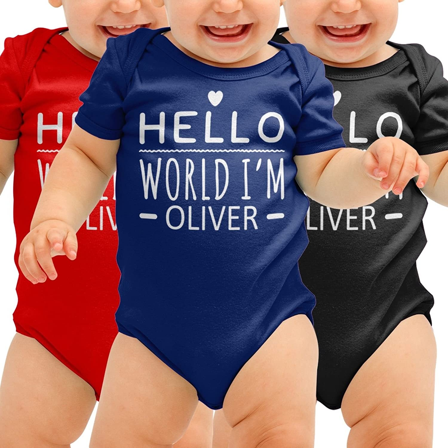 Personalised Babygrow Hello World Im Your Name Cute Baby Suit Grow Body Romper Boys Girls Shower Gift