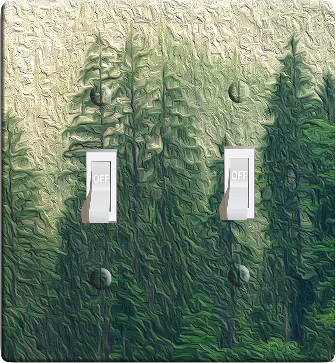 3 D Effect Printed Maxi Metal Pine Trees Light Switch Outlet Cover F0095 2 Gang Toggle Amazon Com