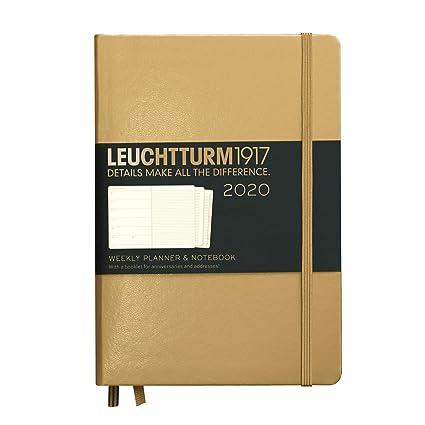 Agenda y cuaderno 2020, tapa dura, A5, dorado, inglés ...