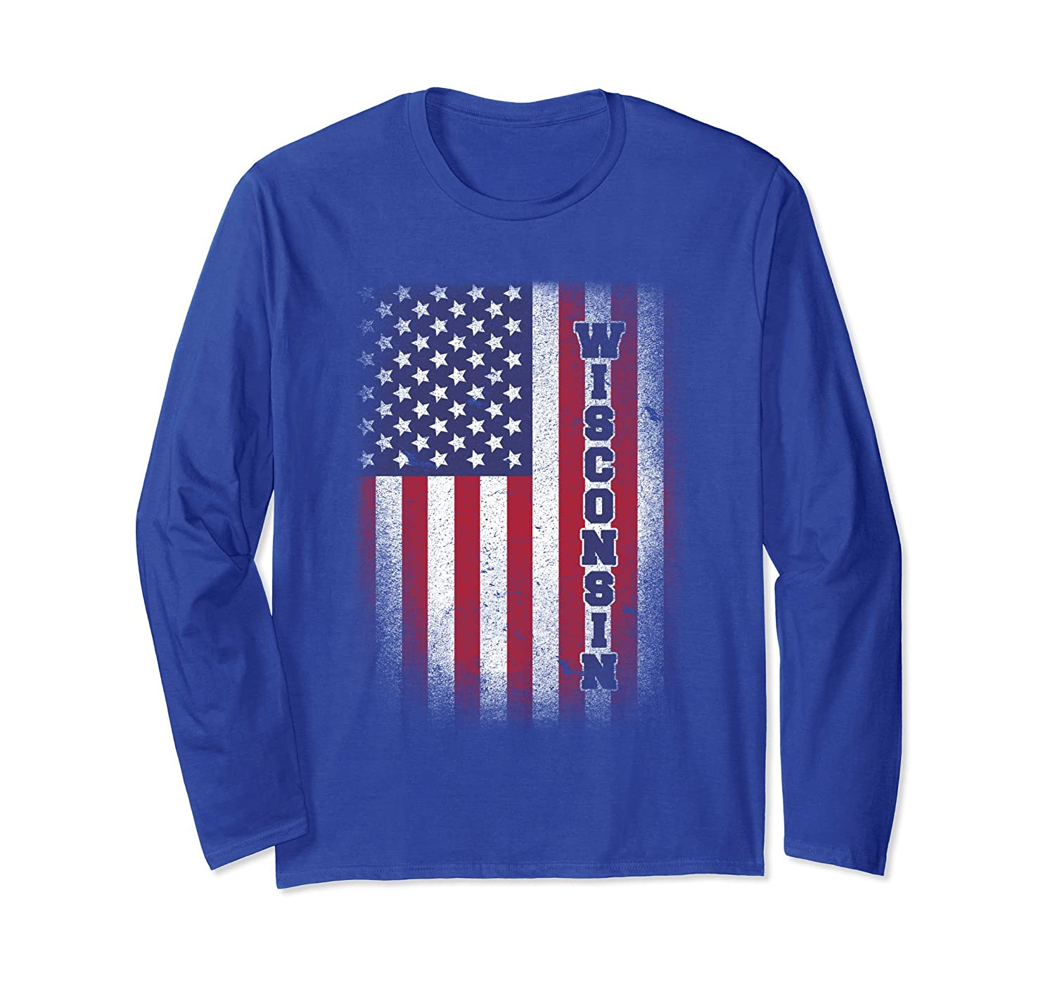 Wisconsin T-shirt American Flag Usa Patriot United States-anz