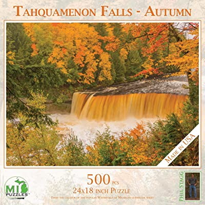 "Tahquamenon Falls - Autumn - 500 Piece MI Puzzles Jigsaw Puzzle - 24"" x 18\"" Interlocking - Made in USA: Toys & Games [5Bkhe1100957]"