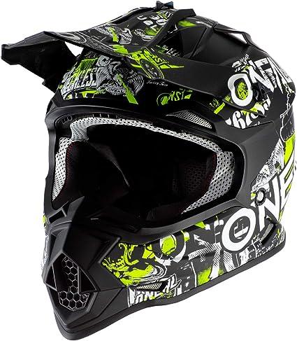 O Neal Motocross Helm Kinder Mx Enduro Abs Schale Sicherheitsnorm Ece 22 05 Lüftungsöffnungen Für Optimale Belüftung Kühlung 2srs Helmet Attack Youth Schwarz Neon Gelb Größe M Sport Freizeit
