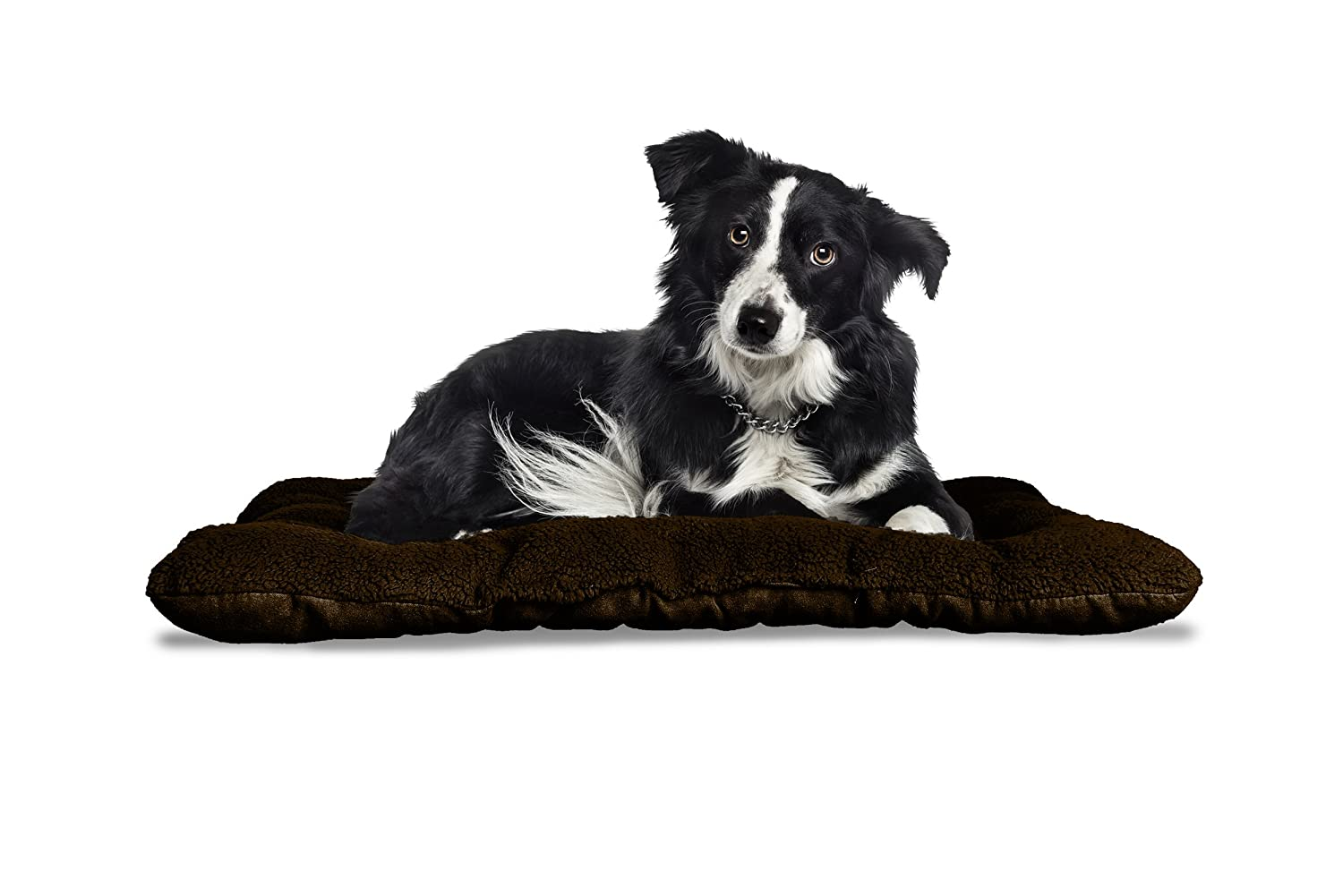 FurHaven Pet Kennel Pad   Reversible Terry & Suede Pet Tufted Pillow Dog Bed for Crates & Kennels, Espresso, Large