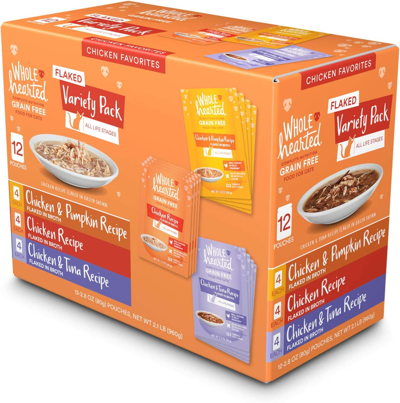 WholeHearted Grain Free Chicken Favorites Flaked Wet Cat Food Variety Pack, 2.8 oz., Count of 12