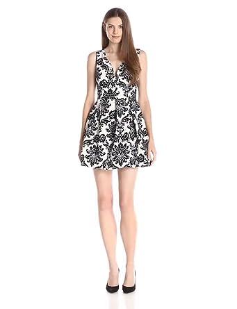 Ark U0026 Co Womenu0027s Floral Print V Neck Fit And Flare Dress, Off White Black