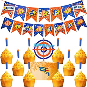 13 Pieces Dart Happy Birthday Banner Supplies Include Gun Theme Party Banner Pennant Target and Darts Cake Topper for Dart Gun Birthday Party Decoration