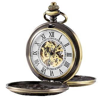 treeweto para Hombre Esqueleto mecánico Reloj de Bolsillo, Retro números Romanos, Mitad Hunter, Bronce: Amazon.es: Relojes
