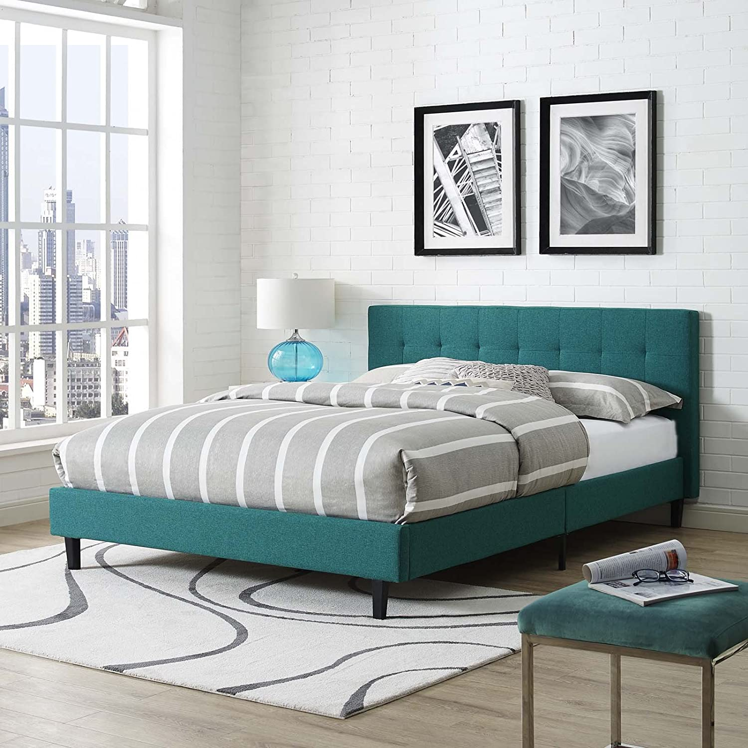 Modway Linnea Fabric Bed, Queen, Teal