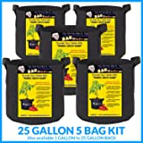 BUBBLEBAGDUDE Bags 5-Pack Breathable Fabric Containers Round Aeration Growing Garden Hydropnic Pot with Sturdy Handles, Color Black - Perfect Growing Environment for any Plants (5 Pack - 25 Gallons)