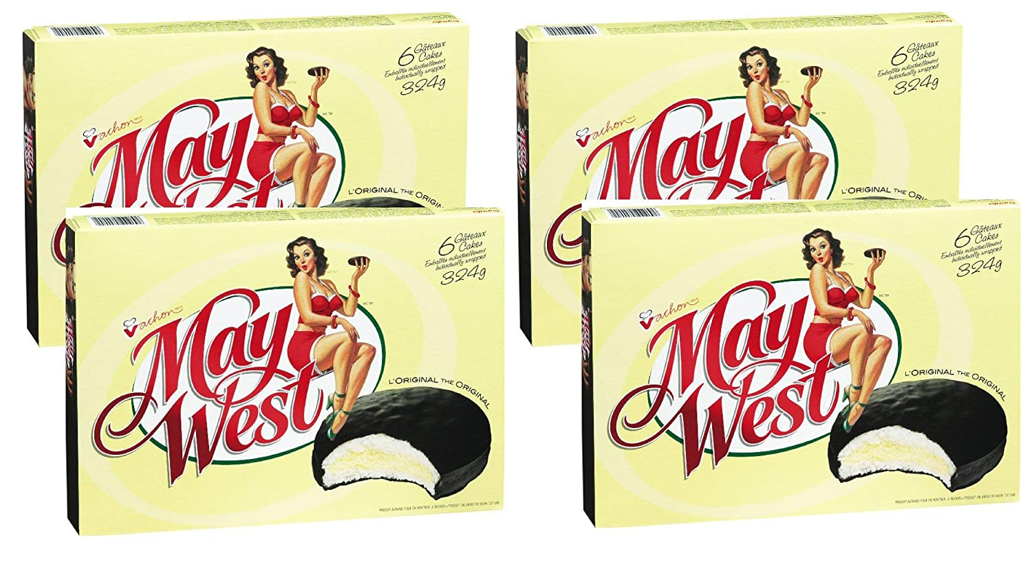 (4 Box) 6 Cakes Vachon the Original May West Cakes 324 grams Each - Canadian