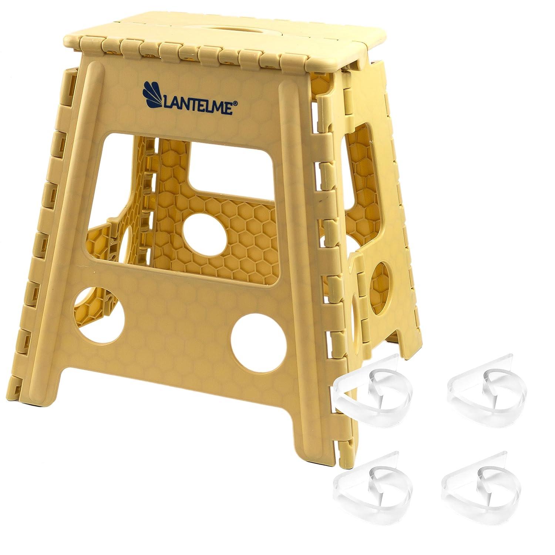 Lantelme - Set composto da uno sgabello pieghevole e fermatovaglia, in plastica, di colore beige, codice articolo 6318